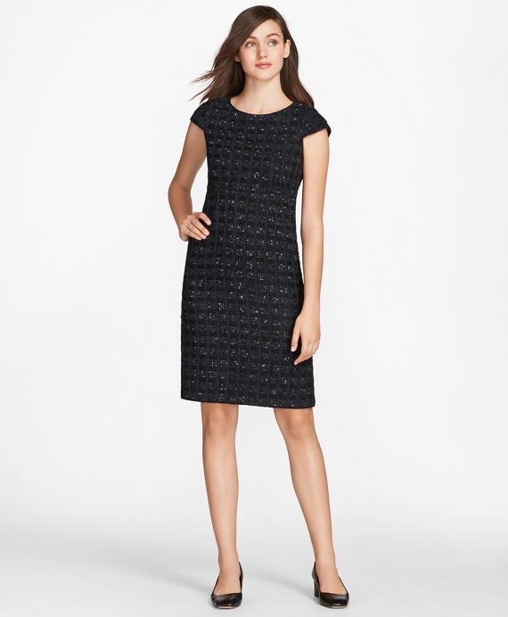 Checked Boucle Tweed Sheath Dress Navy