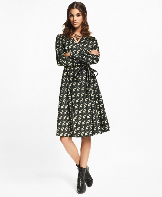 Snow Blossom-Print Cotton Sateen Wrap Dress Black-Multi