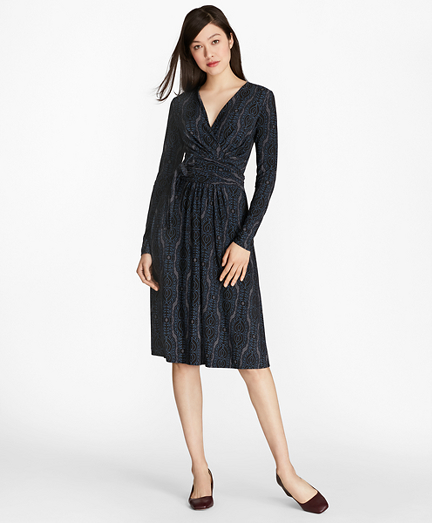 Scroll-Print Crepe Jersey Faux-Wrap Dress