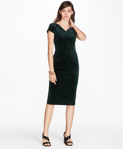 Paisley-Print Velvet Sheath Dress