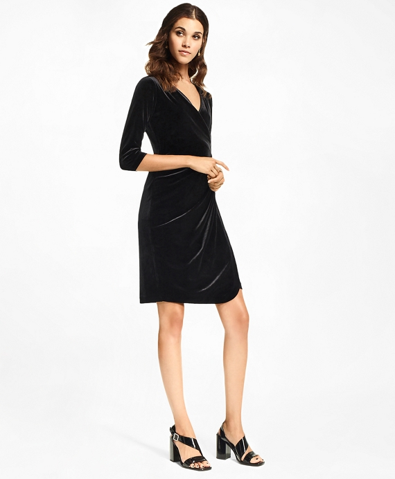 Velvet Faux Wrap Dress Black