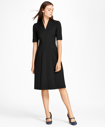 Double-Weave Stretch Wool Stand Collar Dress