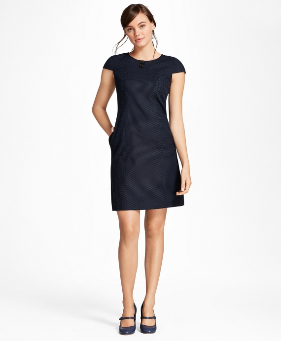 Diamond Jacquard Shift Dress Navy