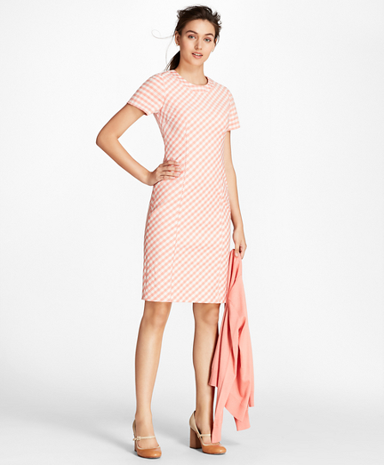 Gingham Double-Weave Sheath Dress