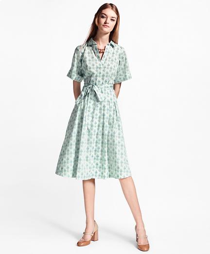 Floral-Print Cotton Sateen Shirt Dress