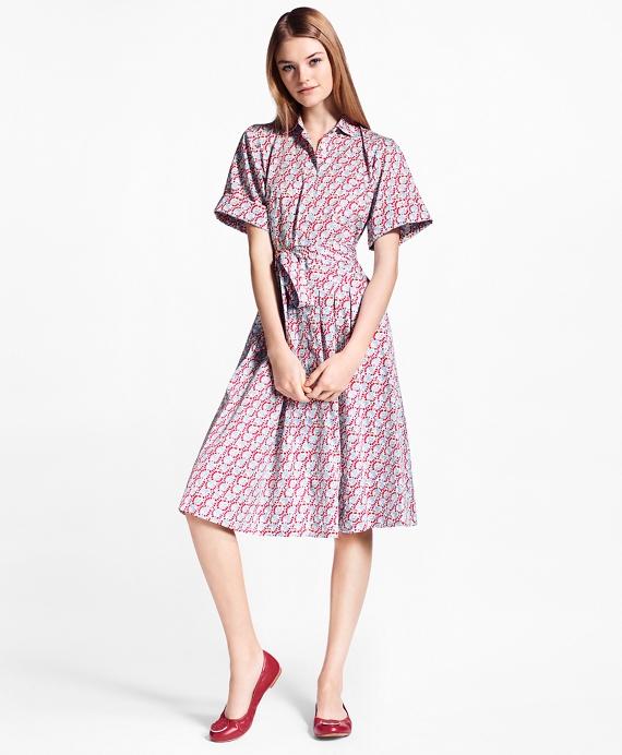 Hula-Dancer-Print Cotton Sateen Shirt Dress