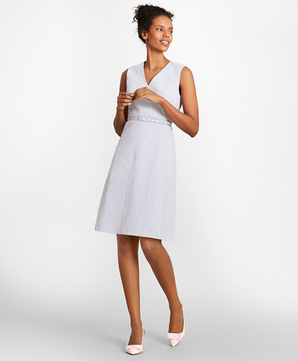 Striped Stretch Cotton Seersucker Dress Brooks Brothers