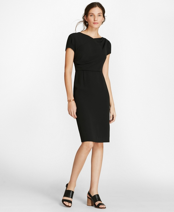 Draped Crepe Sheath Dress Black