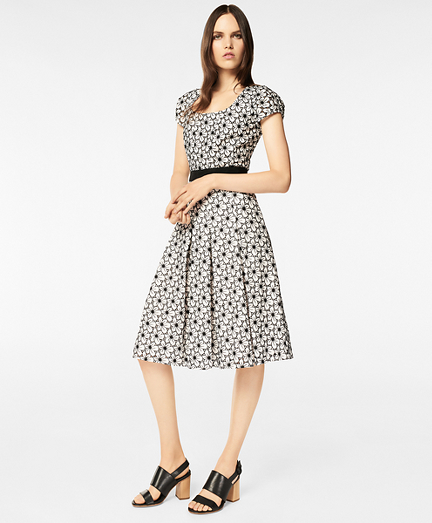 Floral Eyelet Cotton Pleated Dress