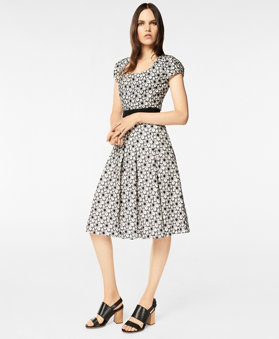 Floral Eyelet Cotton Pleated Dress White-Black
