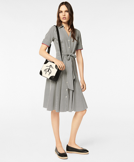 Non-Iron Dot-Print Supima® Cotton Shirt Dress