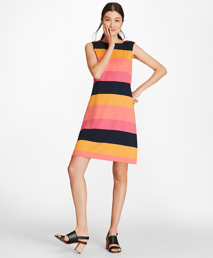 Block Striped Supima® Cotton Interlock Shift Dress