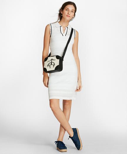 Pointelle Knit Polo Dress