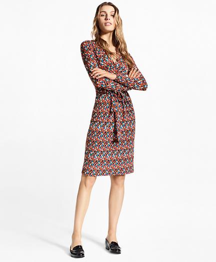 """""""B"""" Print Jersey Faux Wrap Dress"""