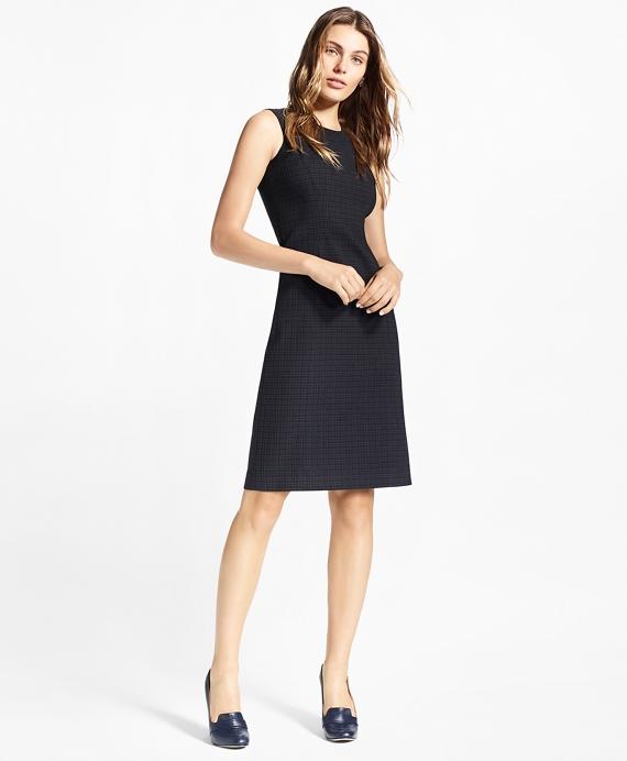 Plaid Stretch-Cotton Jacquard Dress Navy