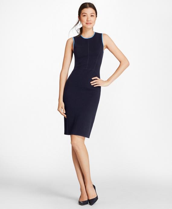 Milano-Knit Merino Wool Sheath Dress Navy