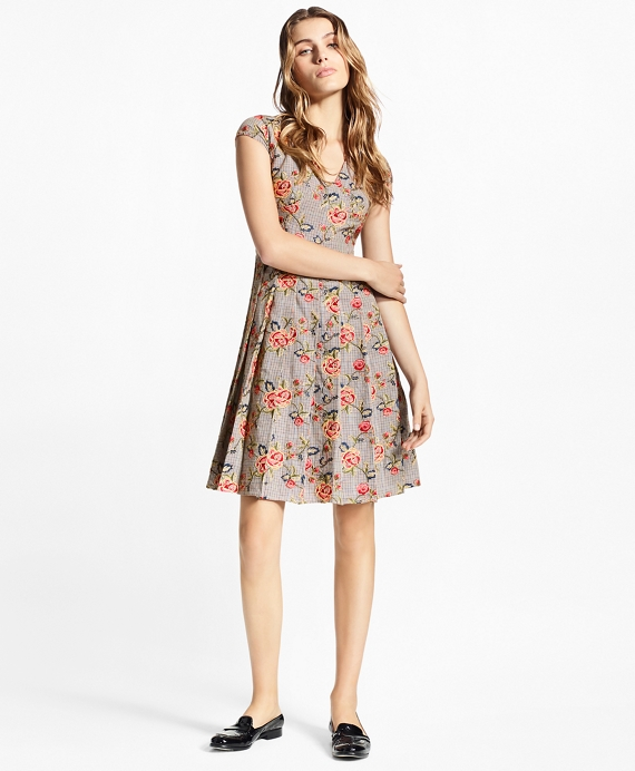 Floral-Embroidered Mini-Houndstooth Cotton Dress Grey-Multi