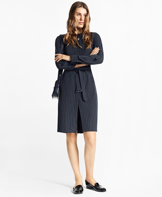 Pinstripe Trench Dress Navy