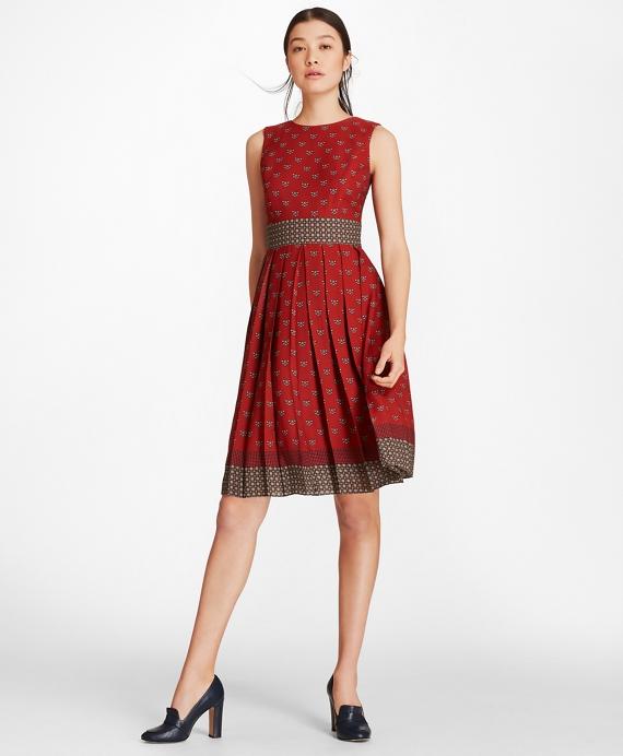 Foulard Silk Georgette Empire-Waist Dress Red