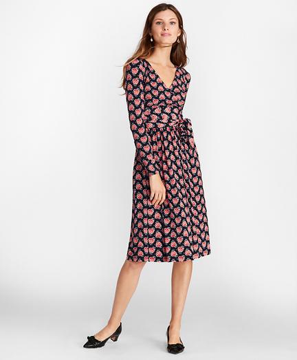 Rose-Print Jersey Faux Wrap Dress