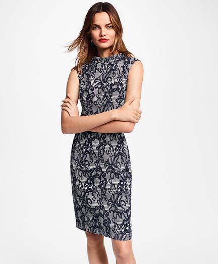 Floral Glen Plaid Jacquard Sheath Dress