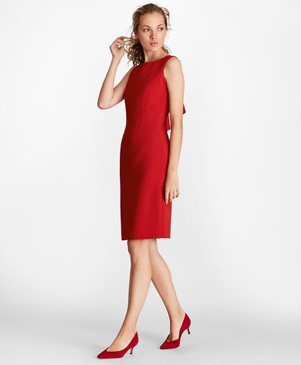Double-Weave Tie-Back Sheath Dress