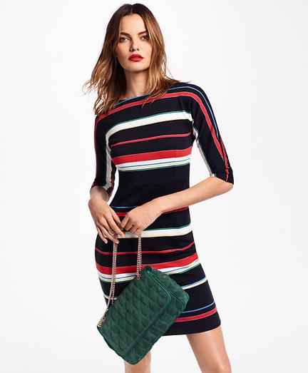 Striped Supima  Cotton Interlock Jersey Dress