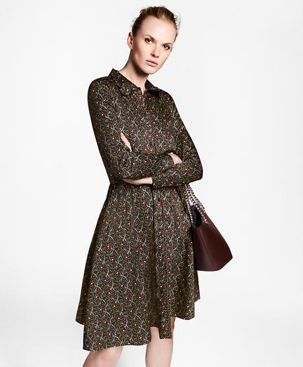 Violette-Print Cotton Sateen Shirt Dress