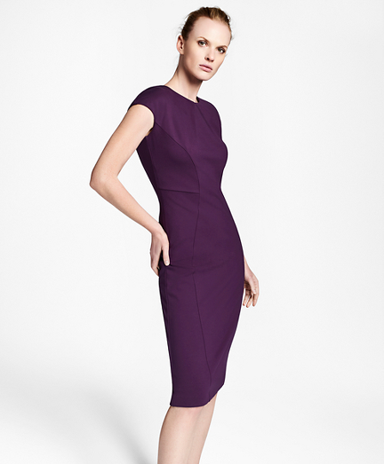 Ponte Knit Cap-Sleeve Sheath Dress