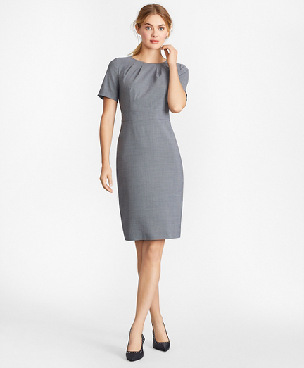 Houndstooth BrooksCool® Merino Wool Sheath Dress