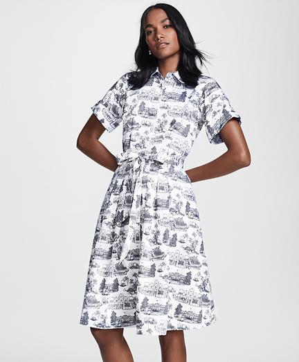 Toile Supima® Cotton Sateen Shirt Dress