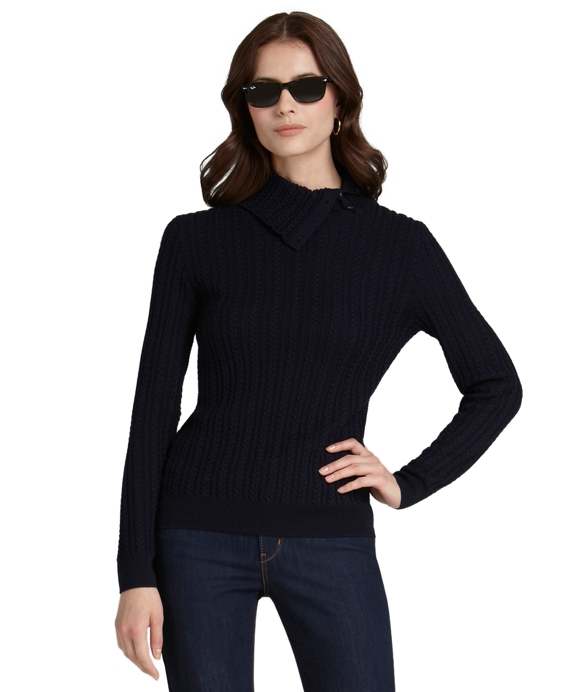 Merino Wool Cable Envelope Sweater Navy