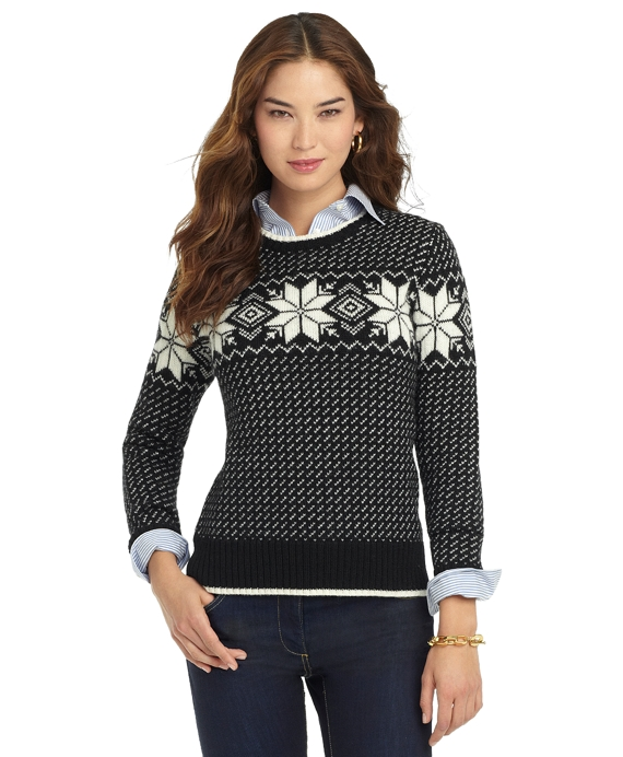 Wool Snowflake Sweater Black