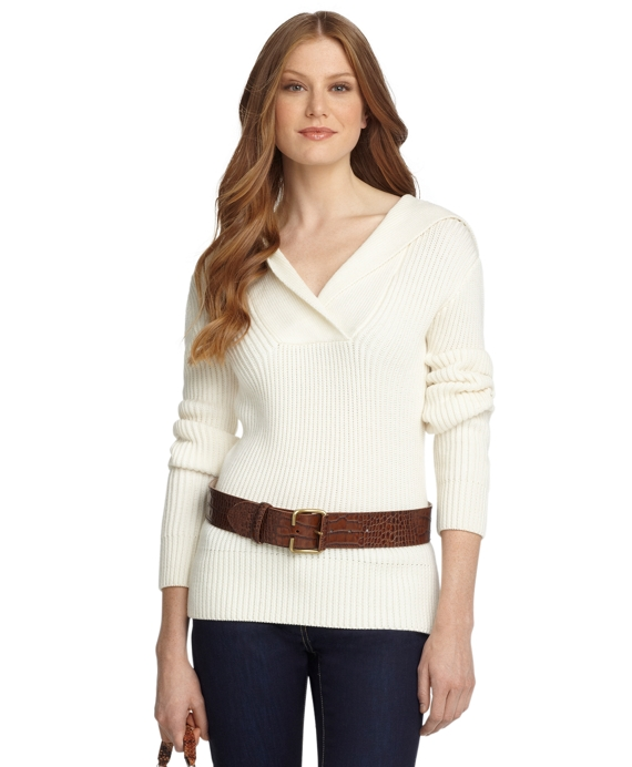 Merino Rib Stitch Hooded Sweater Ivory