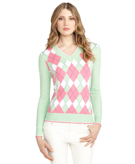 Buy V-Neck Argyle Sweater, see details about this diamond and more