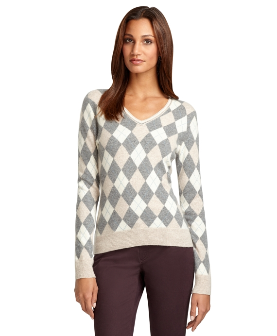 Argyle V-Neck Cashmere Sweater Oatmeal