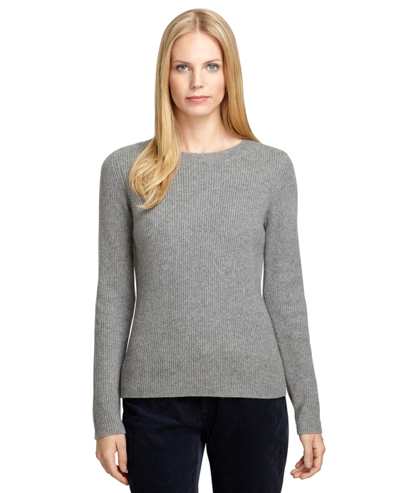 Ribbed Cashmere Crewneck Sweater Grey Heather