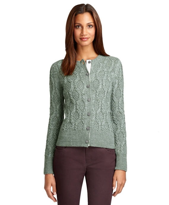 Long-Sleeve Marled Cable Cashmere Cardigan Green