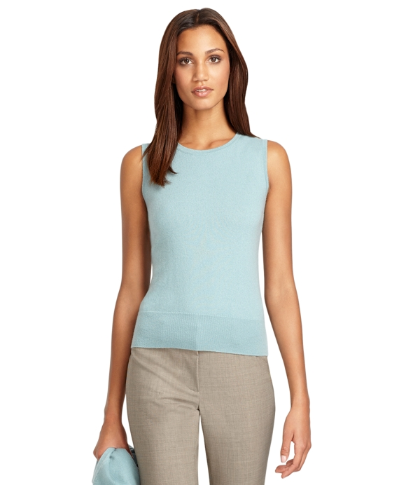Sleeveless Cashmere Shell Aqua