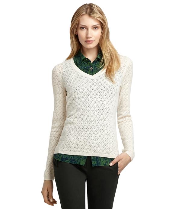 Pointelle V-Neck Cashmere Sweater Ivory