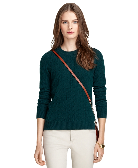 Crewneck Cable Knit Cashmere Sweater Green