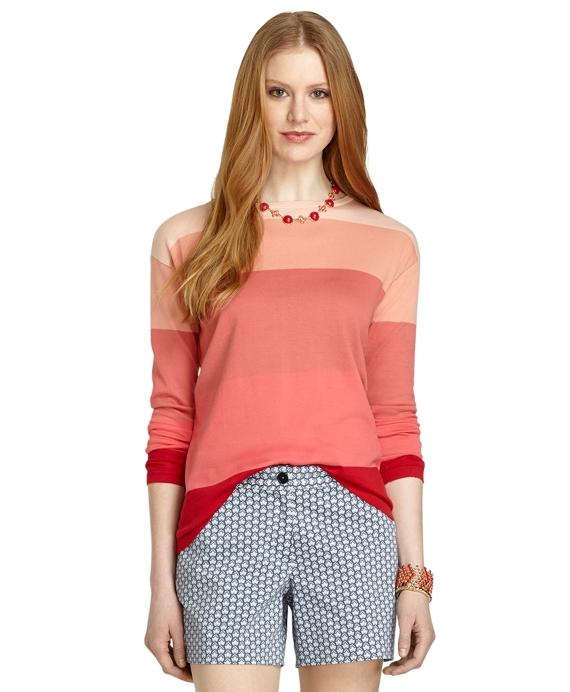 Color-Block Crewneck Sweater Pink