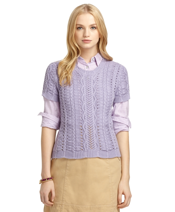 Short-Sleeve Cable Knit Crewneck Sweater Purple