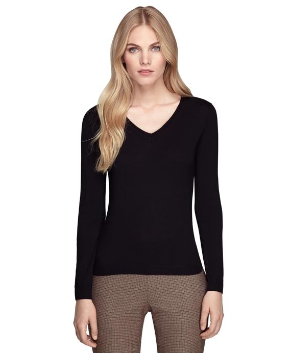 Saxxon® Wool V-Neck Sweater Black