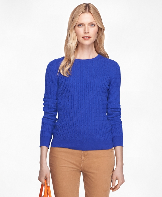 Cashmere Cable Knit Crewneck Sweater Blue