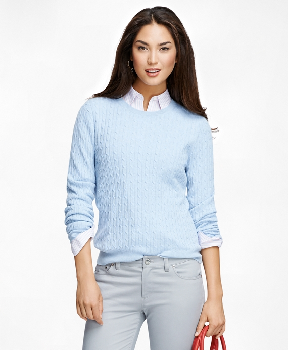 Cashmere Cable Knit Crewneck Sweater Light Blue