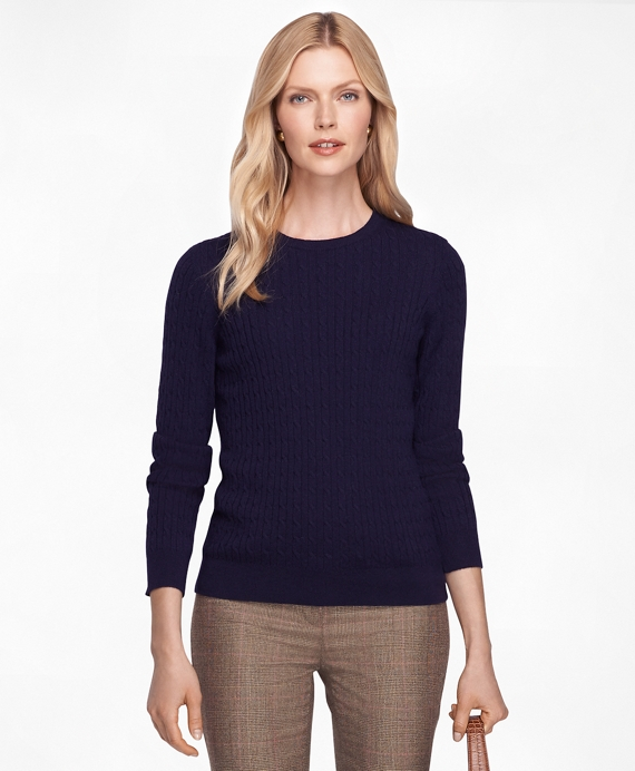Cashmere Cable Knit Crewneck Sweater Navy