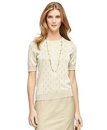 Short-Sleeve Jacquard Sweater