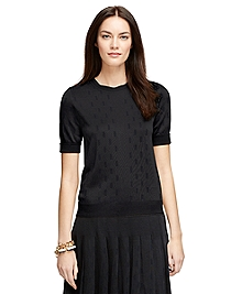 Short-Sleeve Jacquard Sweater
