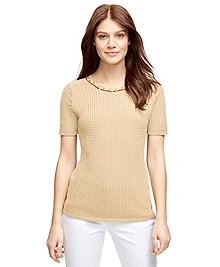 Textured Cotton Short-Sleeve Shell